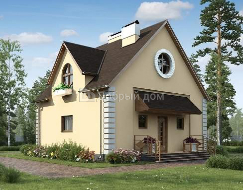 Проект дома 9,1×9,1 м. с двускатной крышей