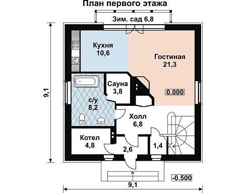 Дом 9,1×9,1 м. с двускатной крышей