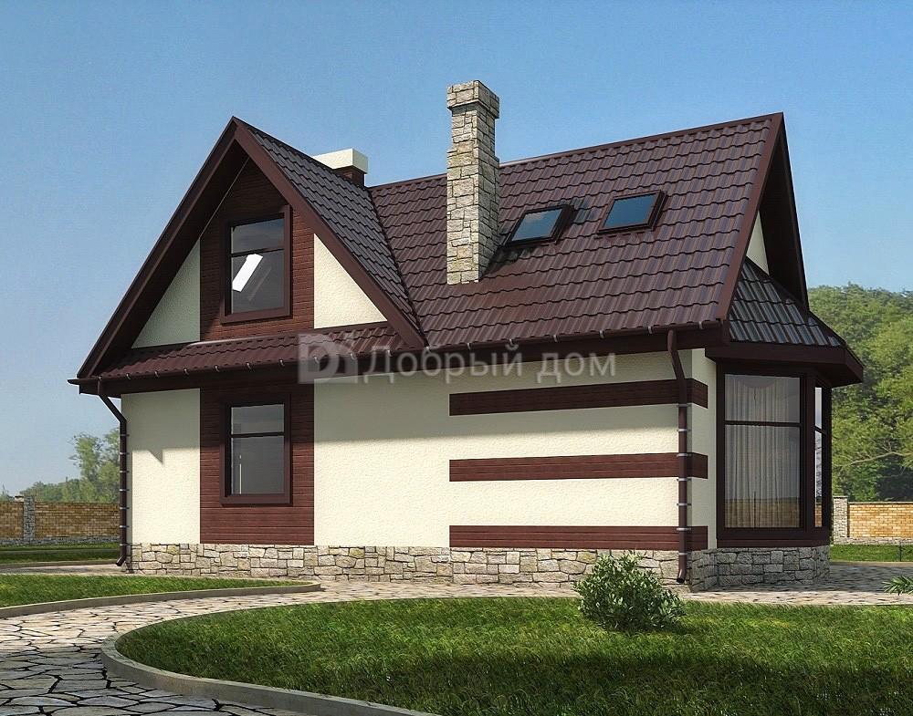 Дом 9,5×6,3 м. с двускатной крышей