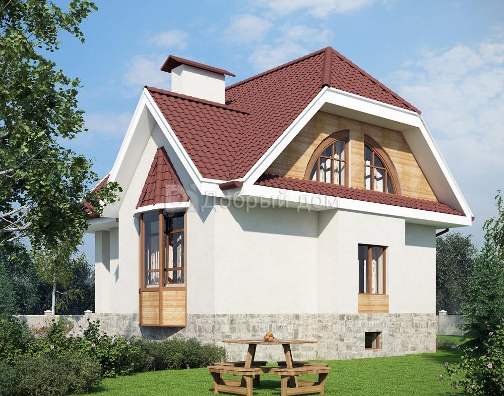 Проект дома 8,7×8,4 м. с двускатной крышей