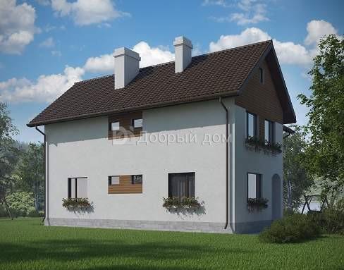 Дом 12,92×10,72 м. с двускатной крышей