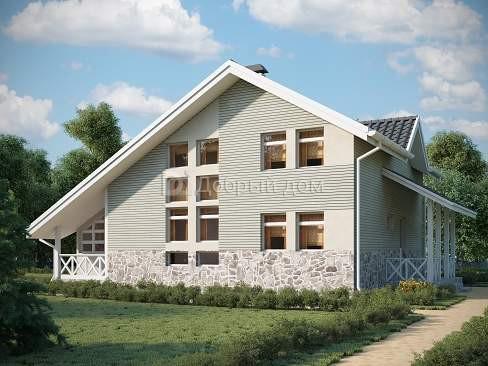 Проект дома 9.1 м х 9 м с мансардной крышей