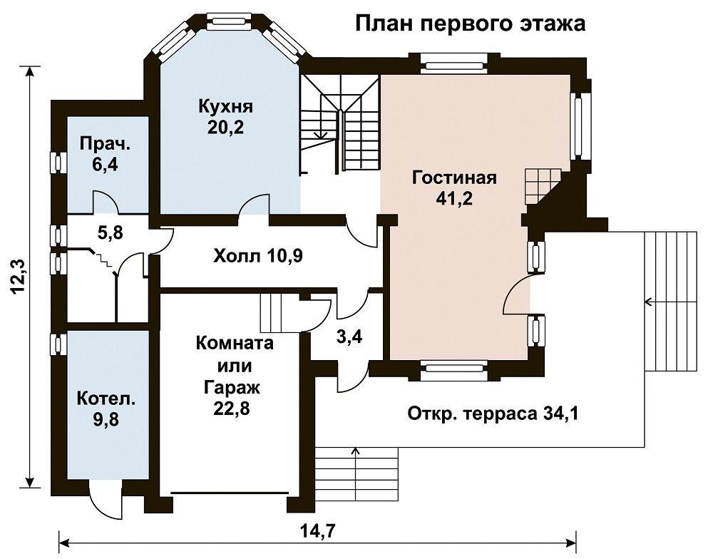 Дом 14,7×12,3 м. с двускатной крышей