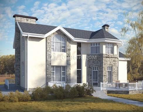 Проект дома 14,7×12,3 м. с двускатной крышей