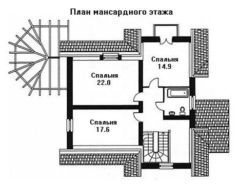 Дом 10,5×10,2 м. с мансардной крышей