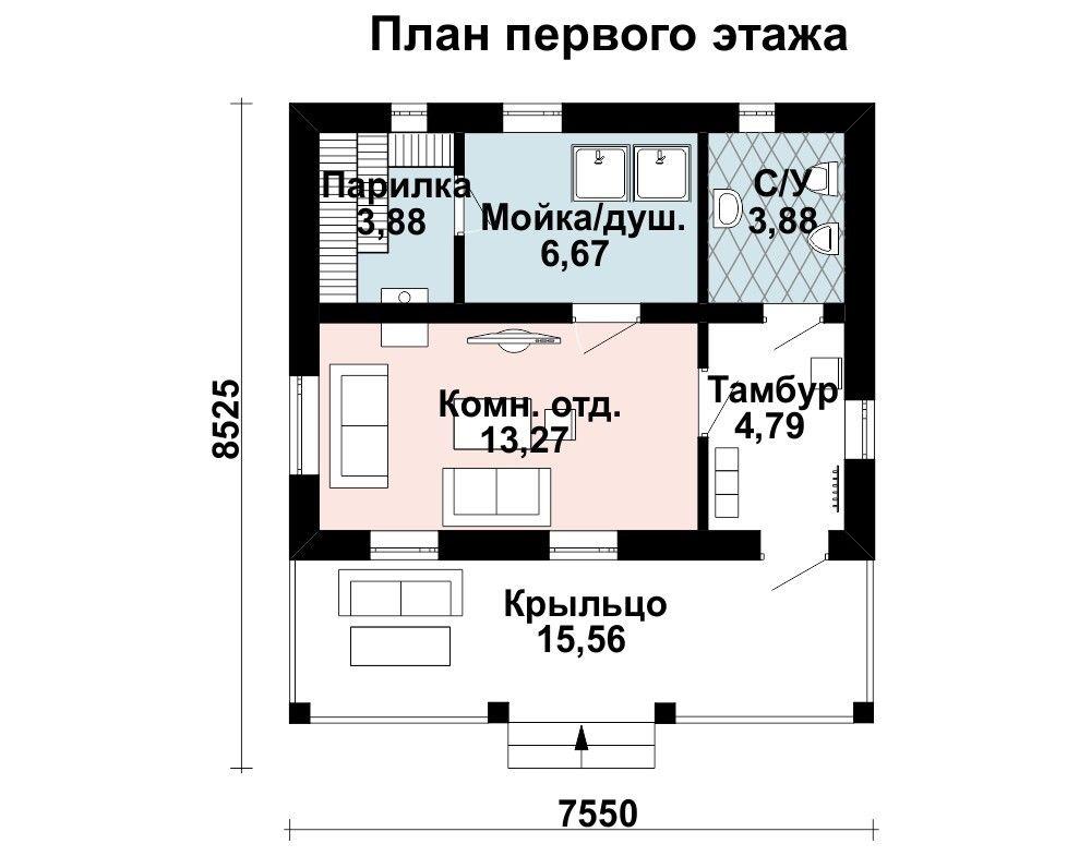 Баня 7.5 м × 7 м
