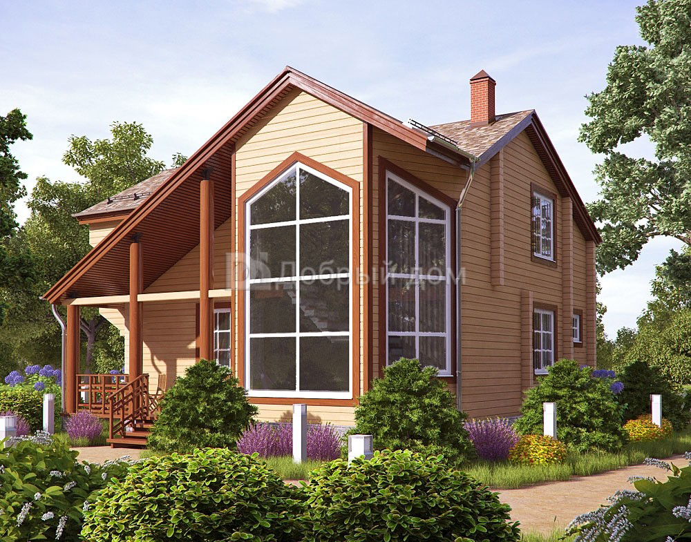 Проект дома 10.2 м х 9.4 м с двускатной крышей