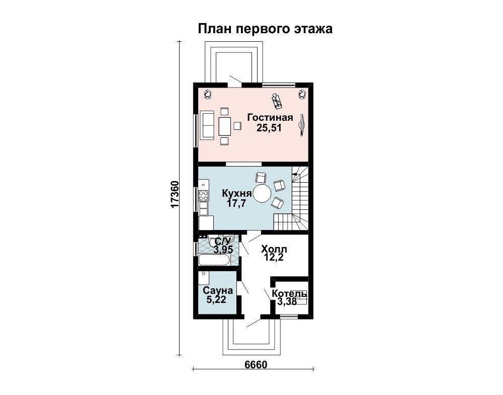 Проект дома 13,2×6,7 м. с односкатной крышей