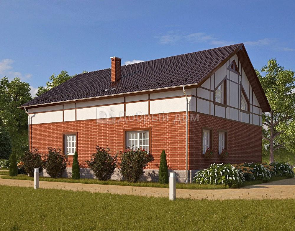 Дом 14×12 м. с двускатной, мансардной крышей
