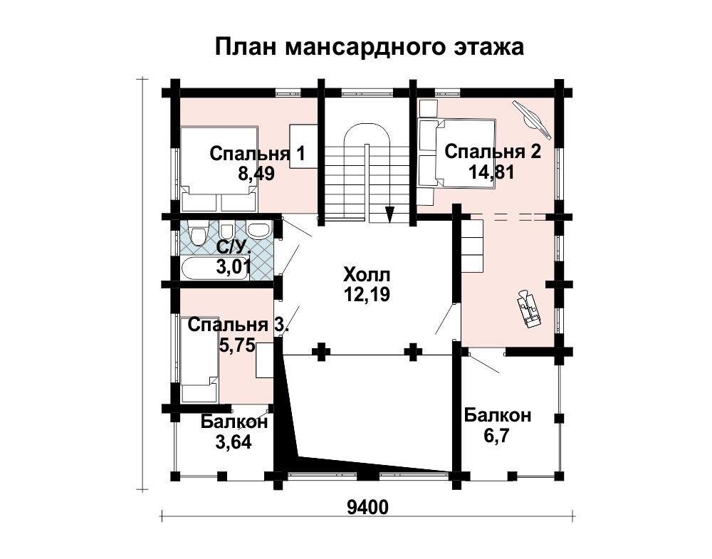 Проект дома 8.8 м х 8.8 м с четырехскатной крышей