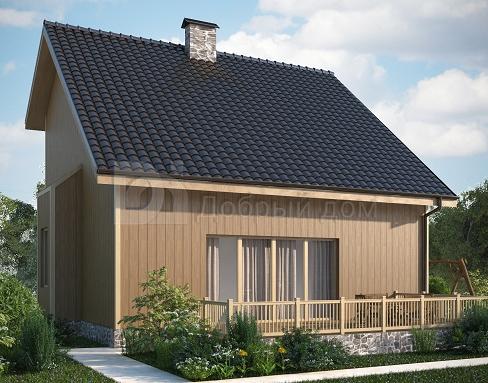 Проект дома 8,9×8,3 м. с двускатной крышей