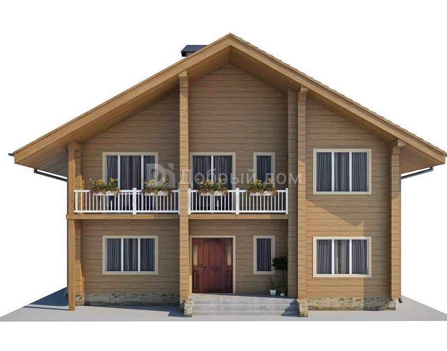 Проект дома 11.2 м х 9.6 м с двускатной крышей