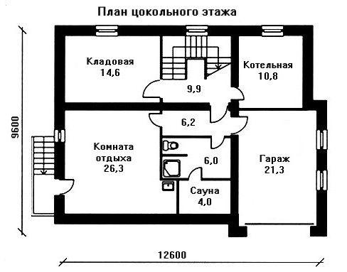 Дом 12,6×9,6 м. с мансардной крышей