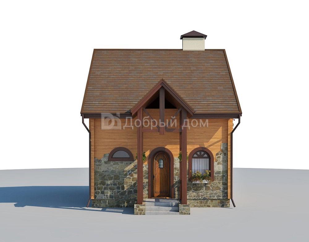 Проект дома 5.8 м х 5.8 м с двускатной крышей