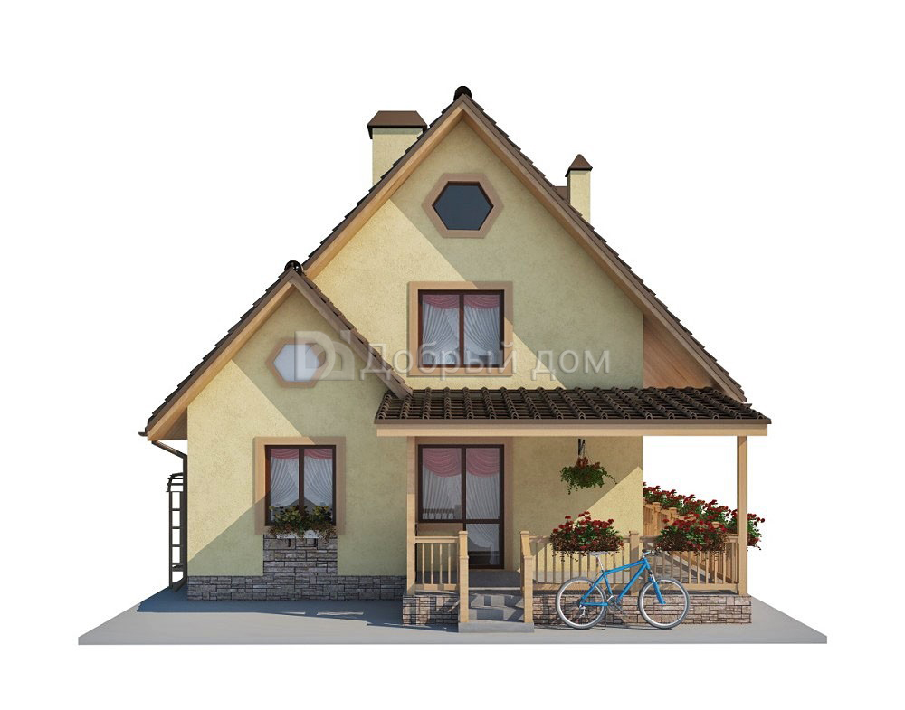 Дом 8,8×7 м. с двускатной крышей