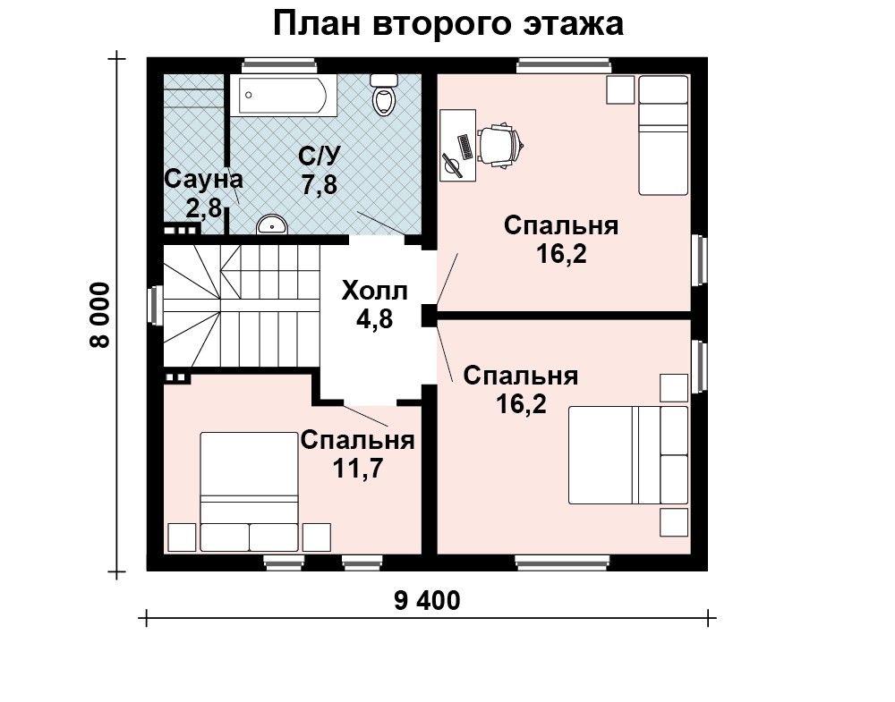 Проект дома 9 м х 8.3 м с двускатной крышей