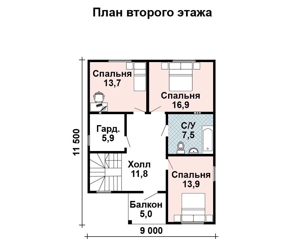 Проект дома 11.5 м х 9 м с двускатной крышей
