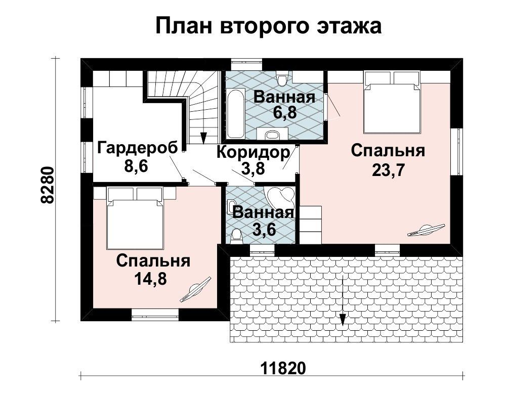 Проект дома 12 м х 8.7 м с четырехскатной крышей