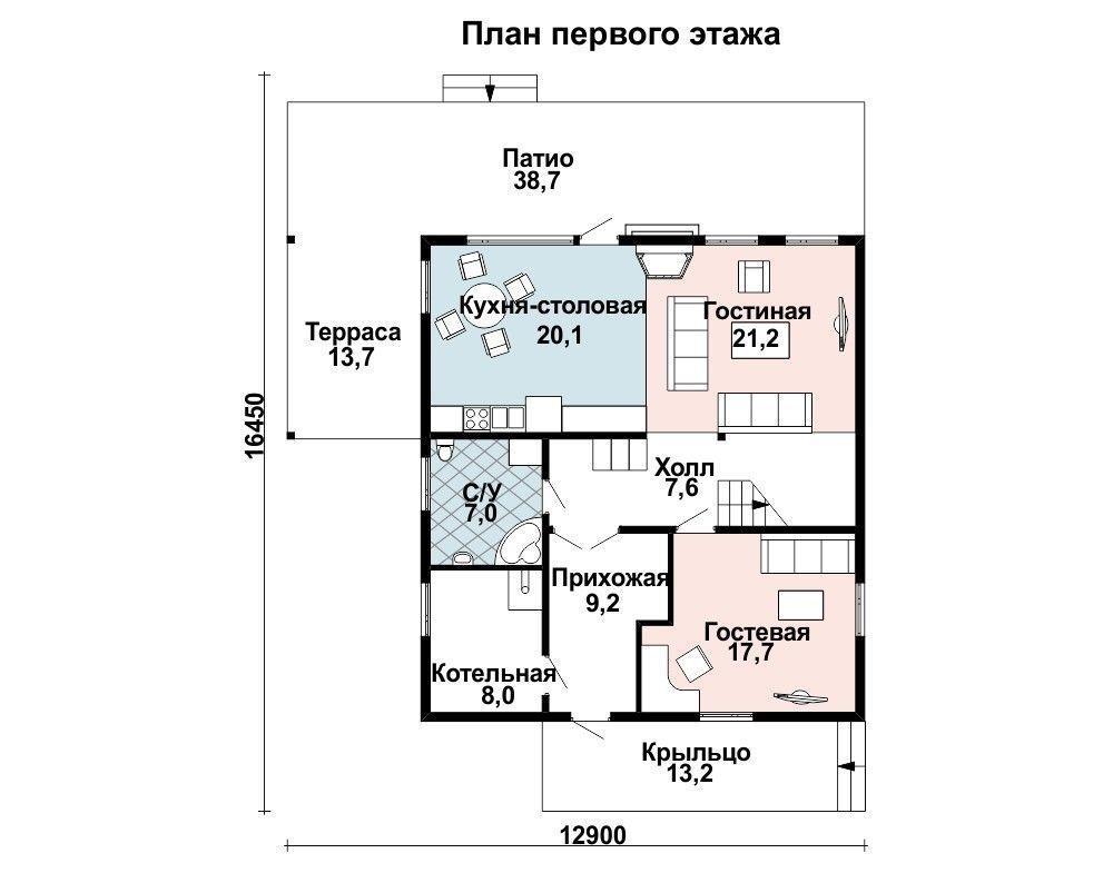 Дом 10,9×9,9 м. с двускатной крышей