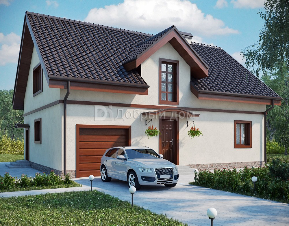 Дом 13,05×9,46 м. с двускатной крышей