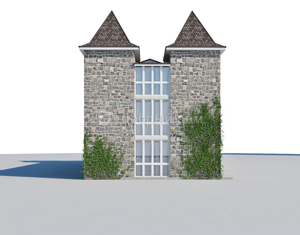 Дом 22,48×9,92 м. с двускатной крышей