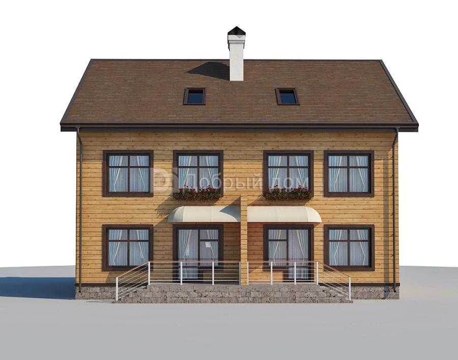 Проект дома 12.9 м х 9.3 м с двускатной крышей