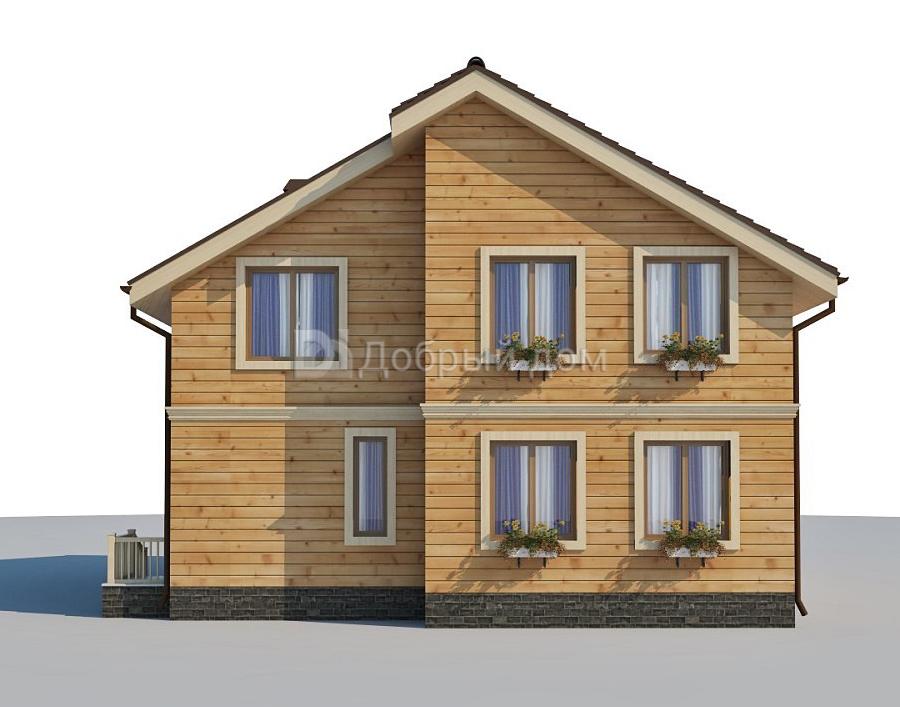 Проект дома 10.96 м х 9.96 м с двускатной крышей