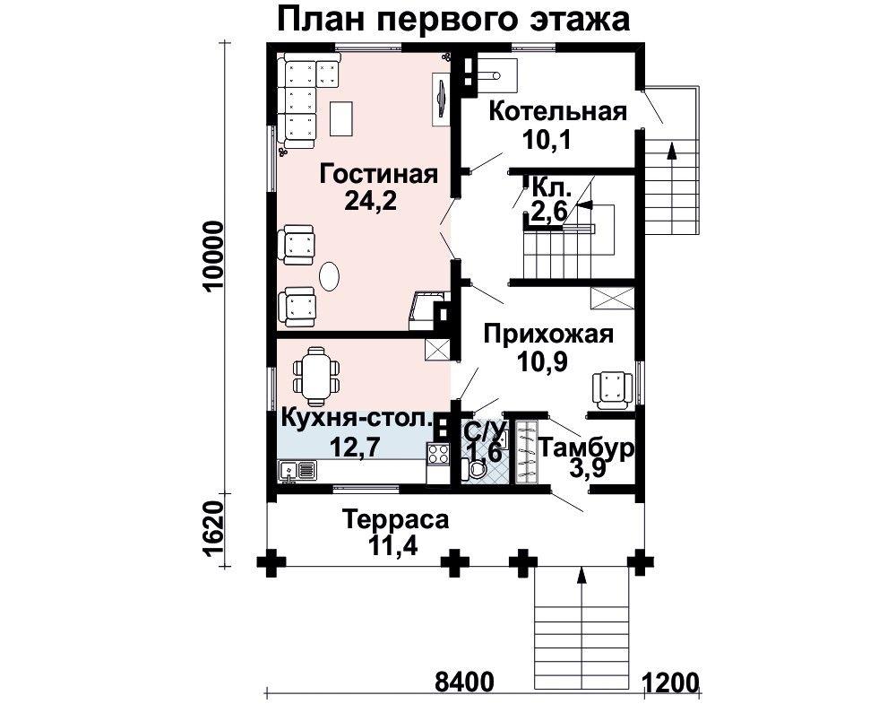 Проект дома 11,6×8,4 м. с двускатной крышей