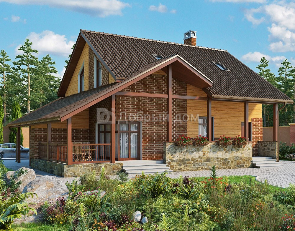 Дом 13,5×11,8 м. с двускатной крышей