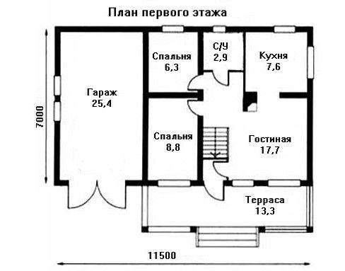 Проект дома 11,5×7 м. с двускатной крышей