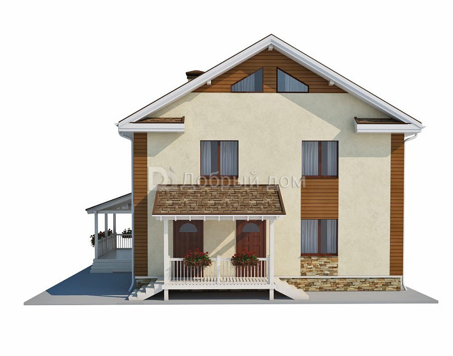 Проект дома 10,2×10,2 м. с двускатной крышей