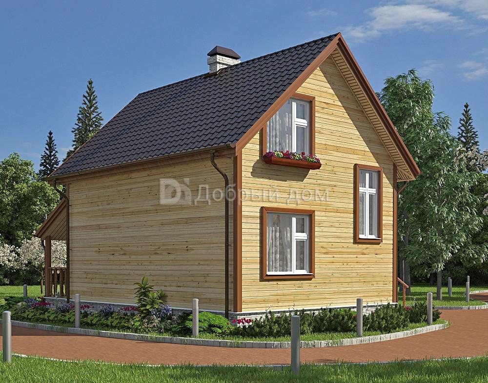 Проект дома 8.4 м х 8 м с мансардной крышей, двускатной крышей