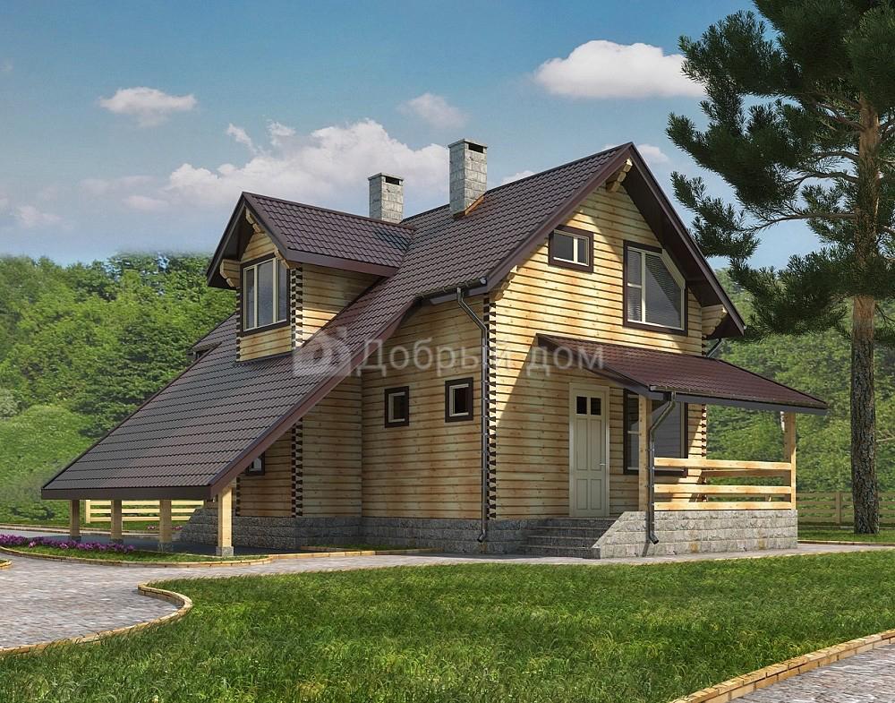 Проект дома 9.9 м х 5.8 м с двускатной крышей