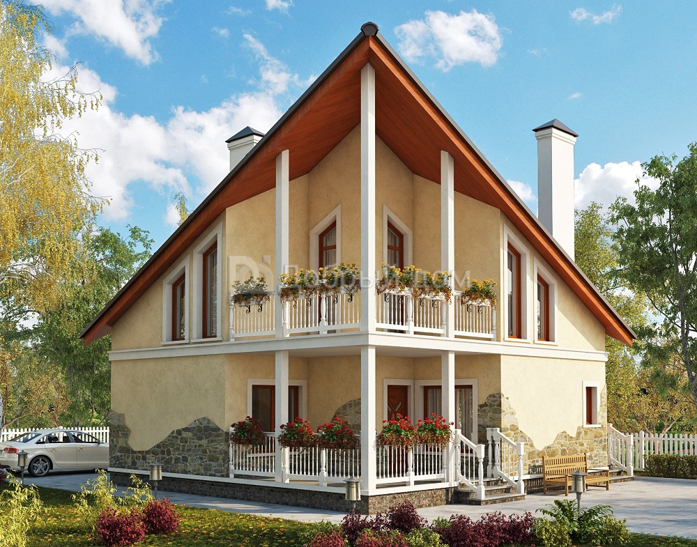 Проект дома 9×9 м. с двускатной крышей