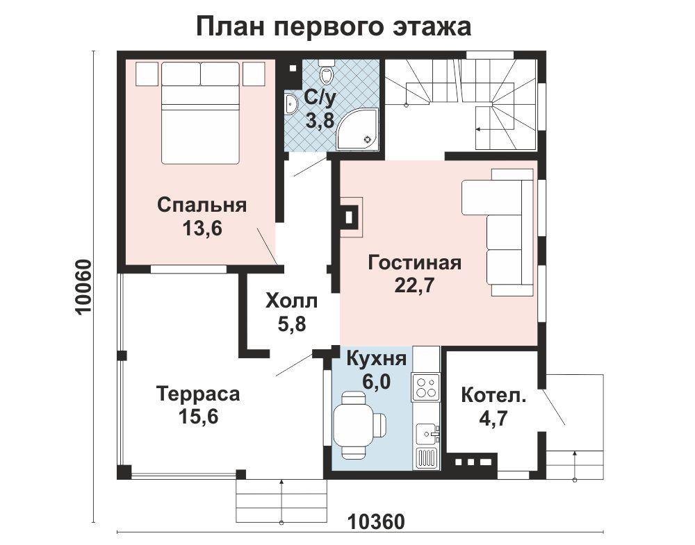 Дом 9×9 м. с двускатной крышей