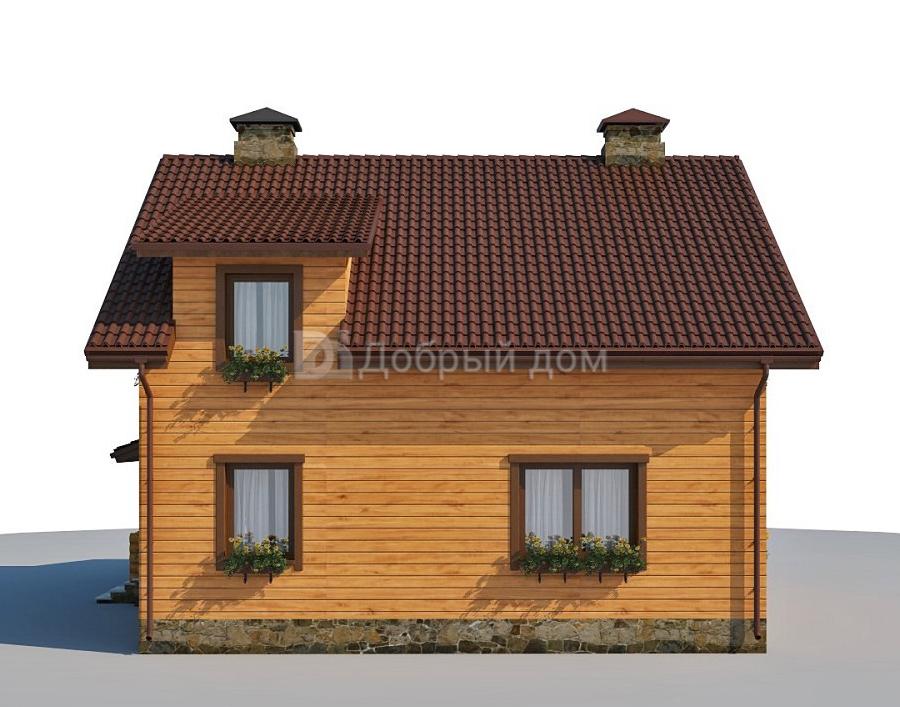 Проект дома 9.7 м х 8.4 м с двускатной крышей