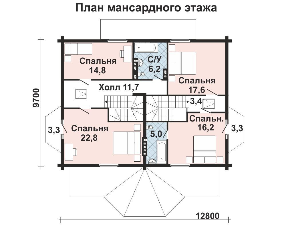 Проект дома 14 м х 8.9 м с мансардной крышей