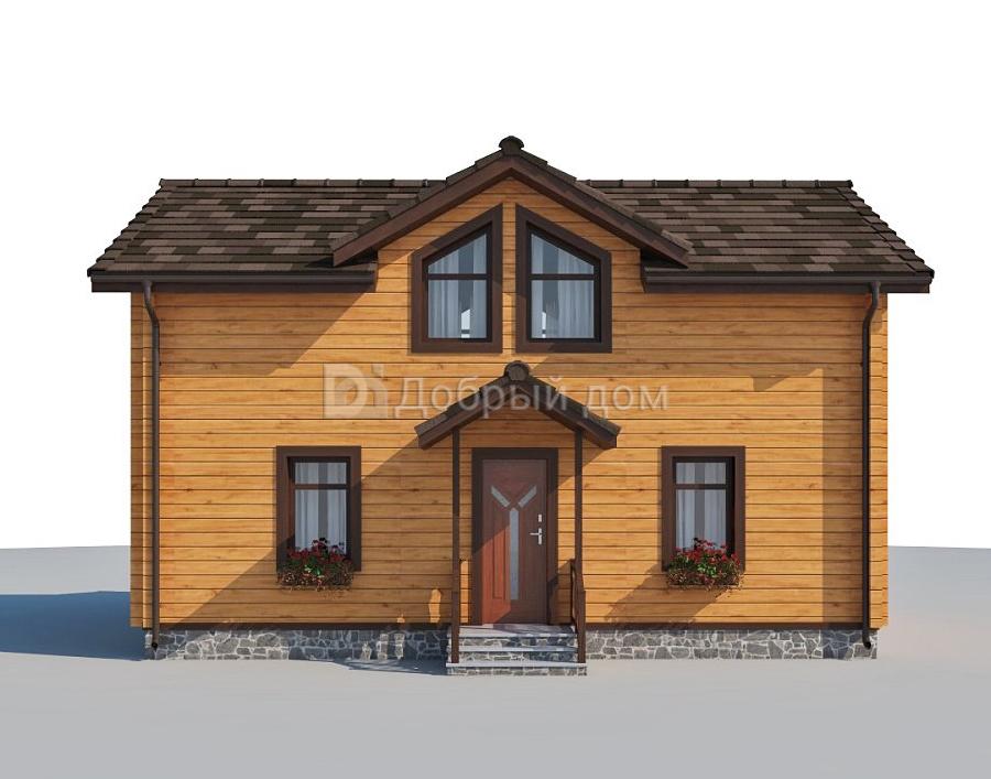 Проект дома 8.6 м х 5.6 м с двускатной крышей