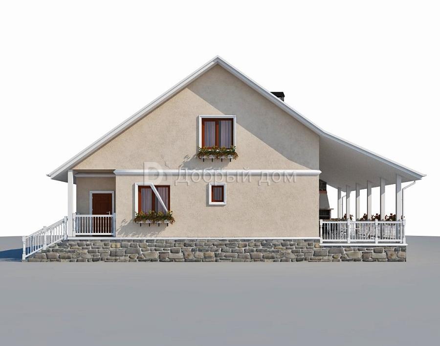 Дом 14,7×9,3 м. с двускатной крышей