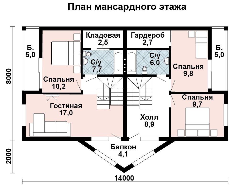 Проект дома 13.6 м х 7.6 м с двускатной крышей