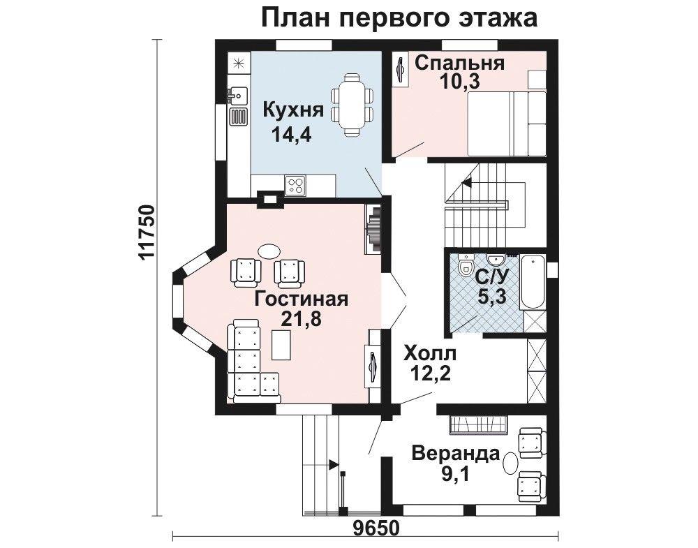 Дом 11,8×8,5 м. с двускатной крышей
