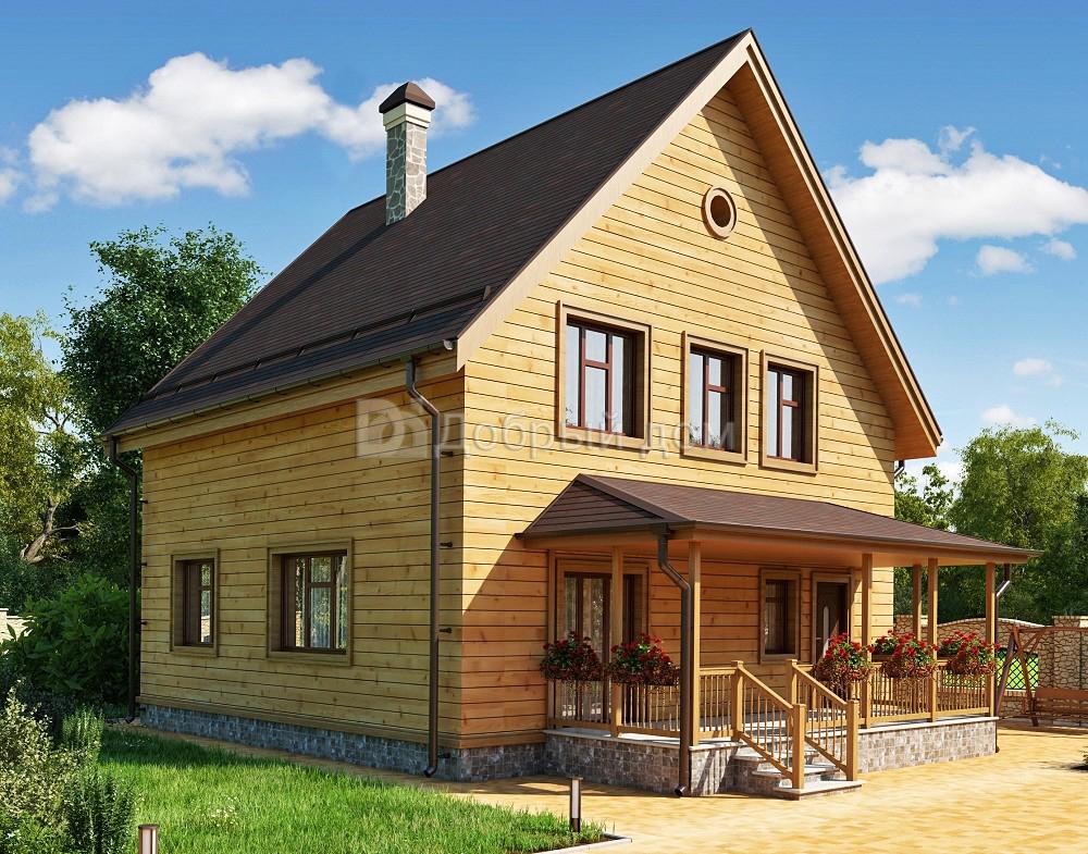 Проект дома 9.3 м х 9.3 м с двускатной крышей
