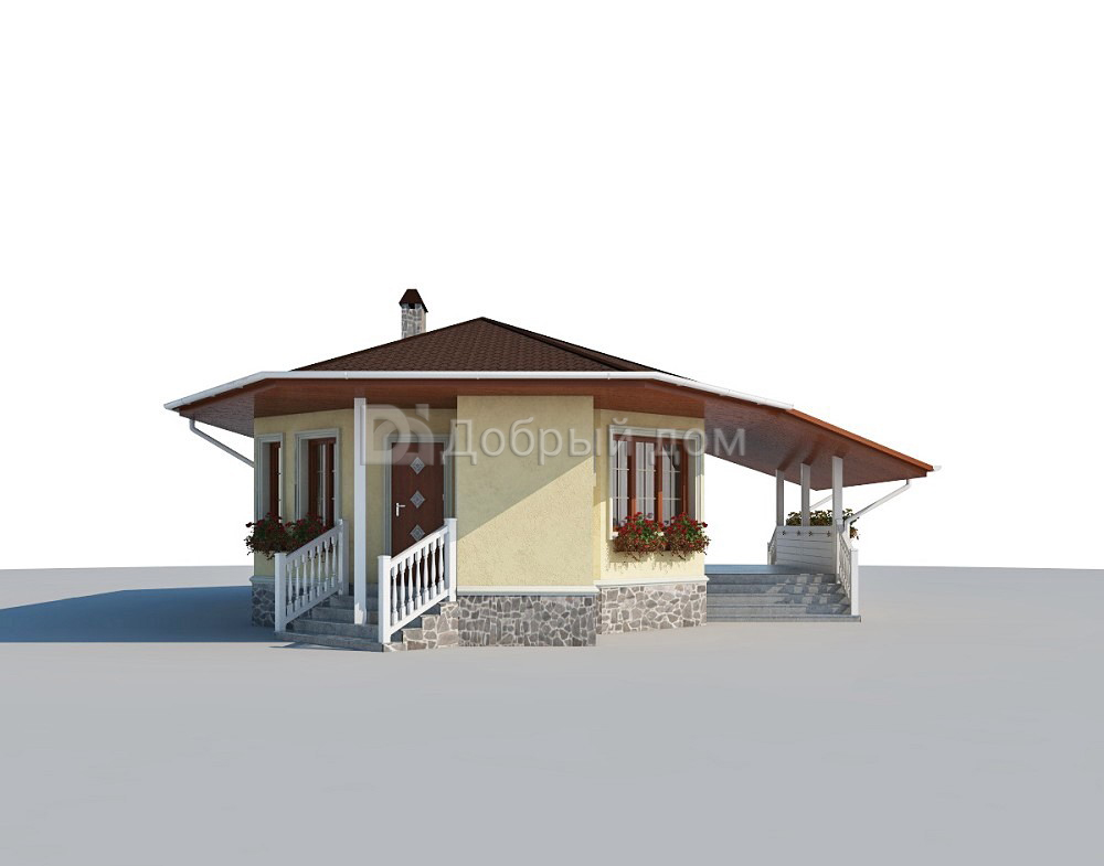 Дом 14,6×7,2 м. с четырехскатной крышей