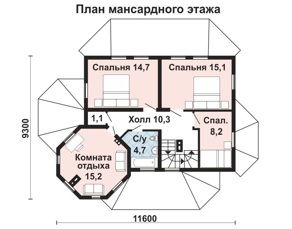 Проект дома 12.2 м х 8.9 м с двускатной крышей