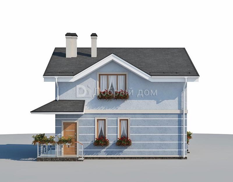Проект дома 8.4 м х 7.8 м с двускатной крышей