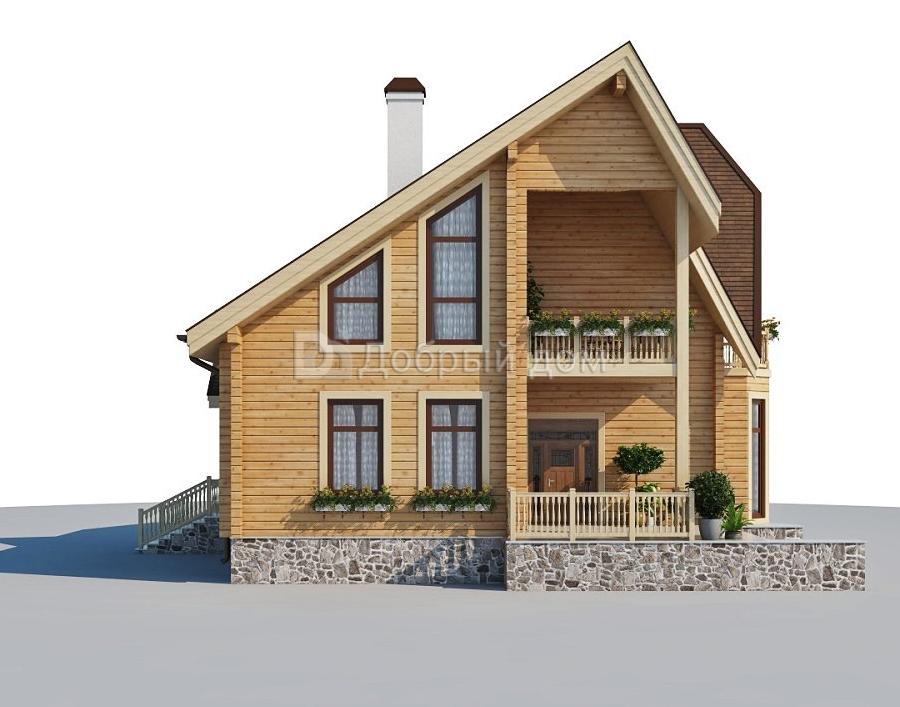 Проект дома 10.4 м х 9.6 м с мансардной крышей