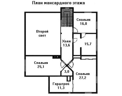 Проект дома 14,6×13,1 м. с мансардной крышей