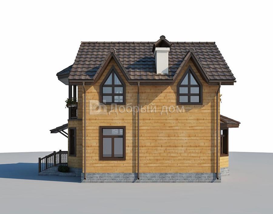 Проект дома 10.5 м х 8.8 м с двускатной крышей