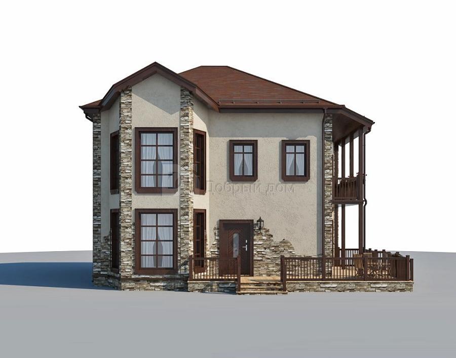 Проект дома 13.1 м х 11.6 м с четырехскатной крышей