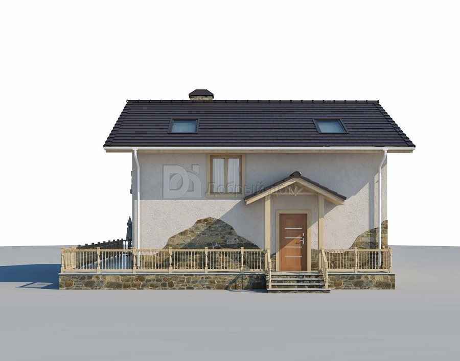 Дом 9,3×9,3 м. с двускатной крышей